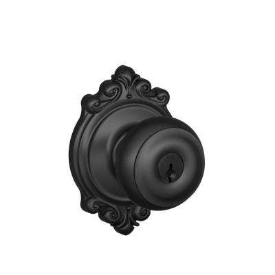 Georgian Matte Black Keyed Entry Door Knob with Brookshire Trim