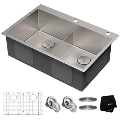 Standart PRO Drop-In/Topmount 16-Gauge Stainless Steel 33 in. x 22 in. Double Bowl 2-Hole Kitchen Sink