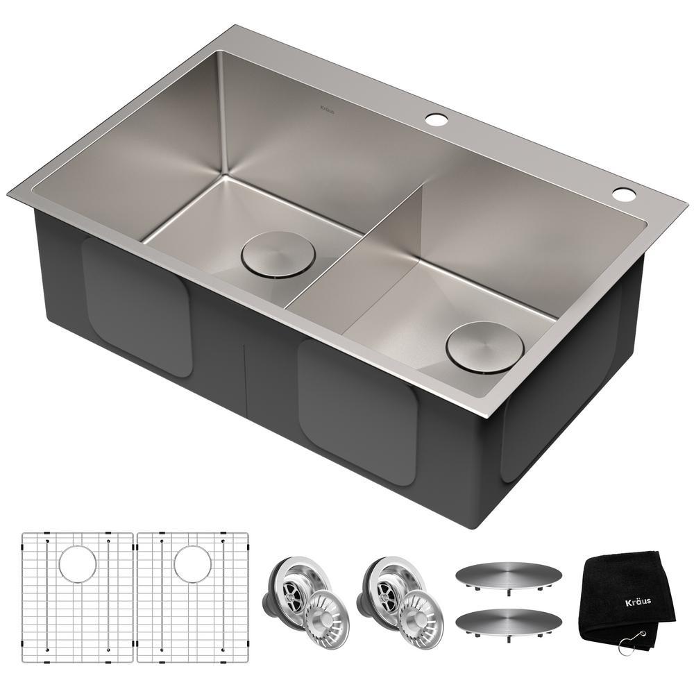 KRAUS 33 in. x 22 in. Standart PRO Drop-In Topmount 16-Gauge Double Bowl 2-Hole Stainless Steel Kitchen Sink