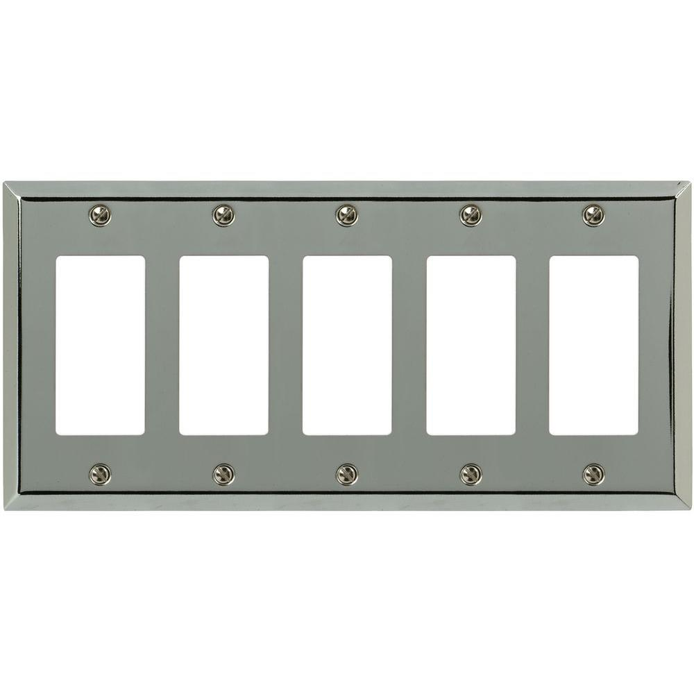 Amerelle Century Steel 5 Decora Wall Plate - Chrome