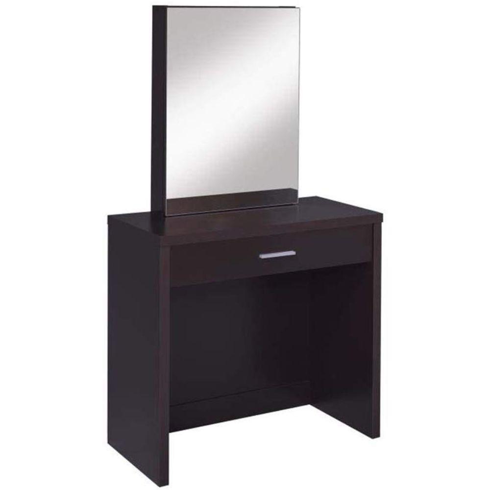 Benjara Stylish 2 Piece Brown Vanity Set With Hidden Mirror Storage And Lift Top Stool Bm69565 The Home Depot