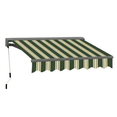 13 ft. Classic C Series Semi-Cassette Manual Retractable Patio Awning (118 in. Projection) in Green/Beige Stripes