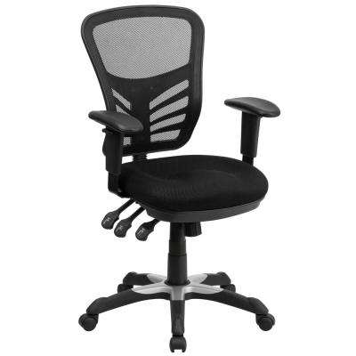 Mid-Back Black Mesh Swivel Task Chair with Triple Paddle Control