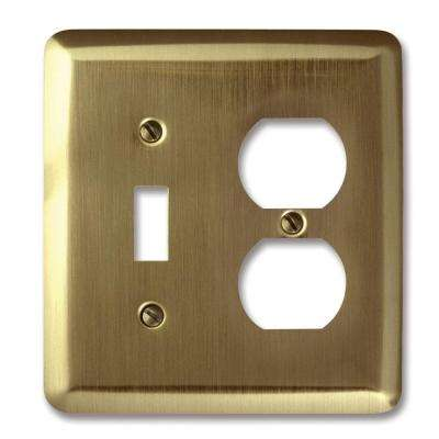 Steel 1 Toggle 1 Duplex Wall Plate - Brushed Brass