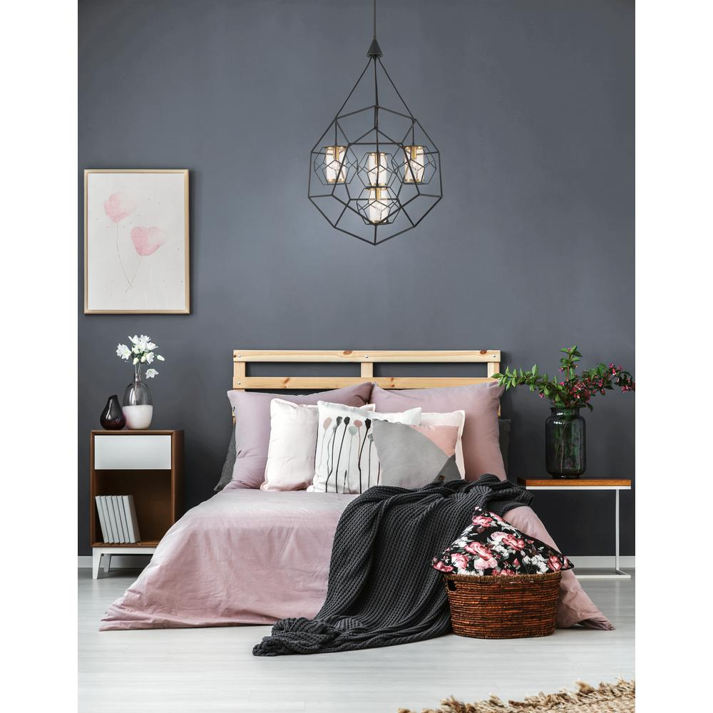 Eurofase Bettino 4-Light Black Chandelier with Brass Wire Cage Shade