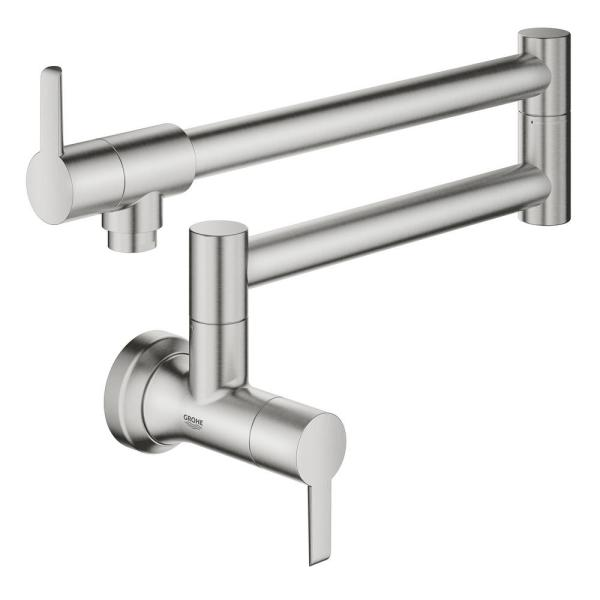 Ladylux L2 Wall Mount Pot Filler with Two Swing Joints in SuperSteel Infinity Finish