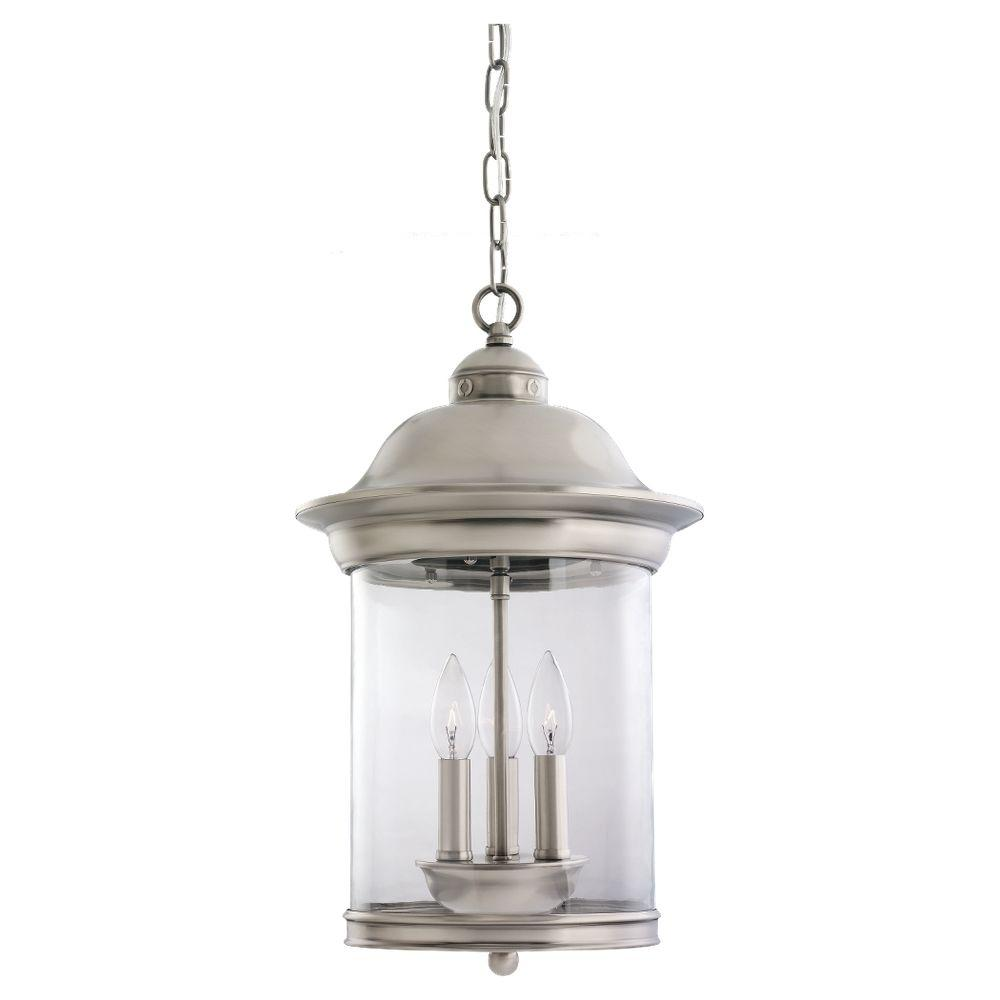 Hermitage 3-Light Antique Brushed Nickel Outdoor Hanging Pendant
