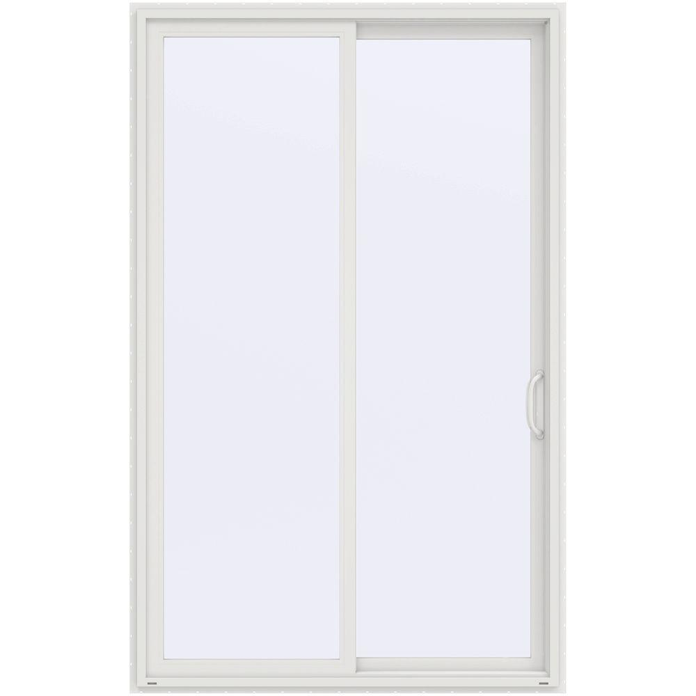 Jeld wen 60 in x 96 in v 4500 white prehung right hand for White sliding patio doors