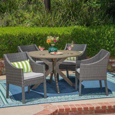 Owen Gray 5-Piece Wood and Wicker Outdoor Dining Set with Silver Cushions