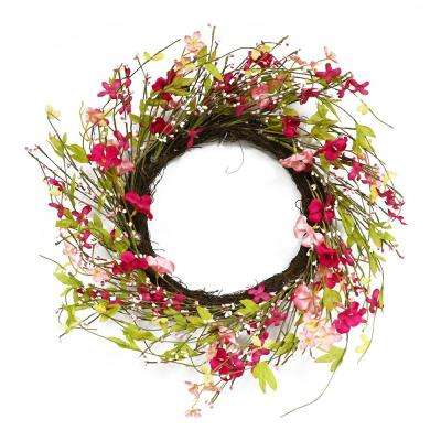 22 in. Wreath with Pink Jasmine