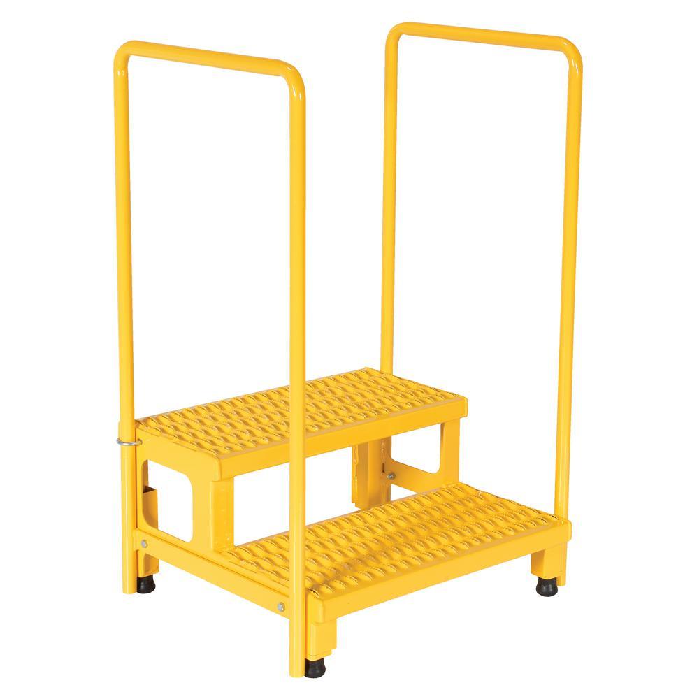 Vestil 24 inch x 23 inch 2-Step Adjustable Step Stand with Rail by Vestil