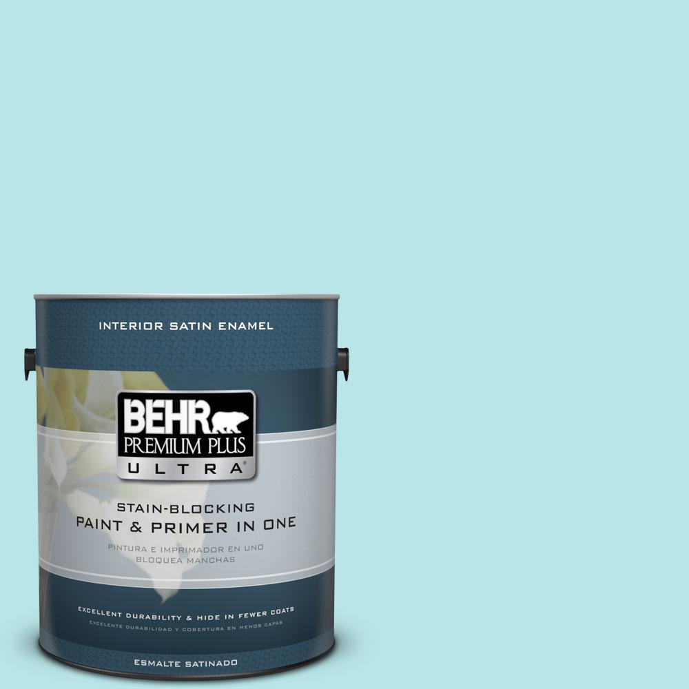 1 gal. #500A-2 Refreshing Pool Satin Enamel Interior Paint and Primer