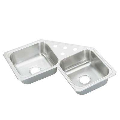 Celebrity Drop-In Stainless Steel 32 in. 4-Hole Double Bowl Kitchen Sink
