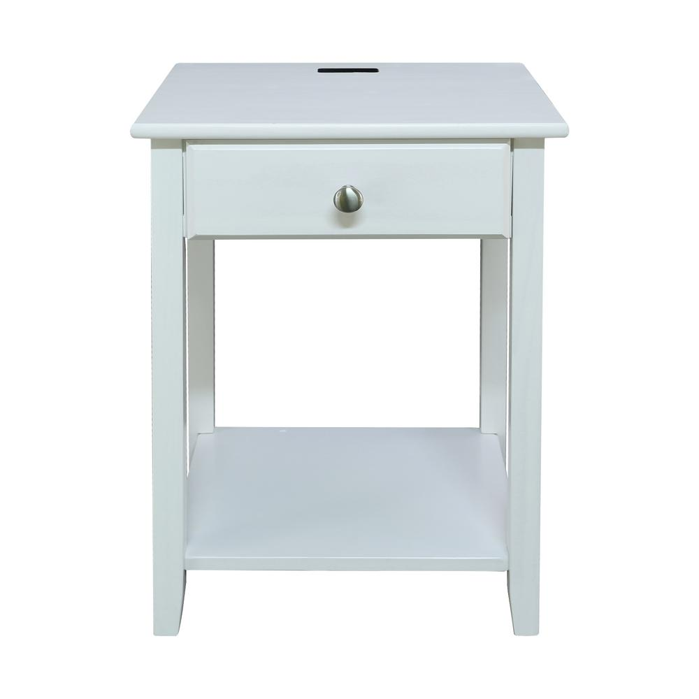 Night Owl White Nightstand with USB Port