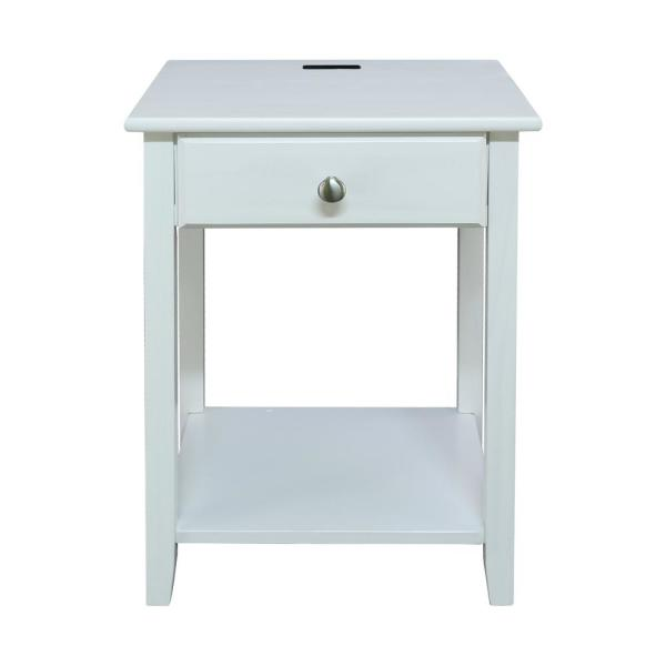 Casual Home Night Owl White Nightstand with USB Port 647-21