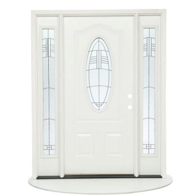 67.5 in.x81.625 in. Rochester Patina 3/4 Oval Lt Unfinished Smooth Right-Hand Fiberglass Prehung Front Door w/ Sidelites