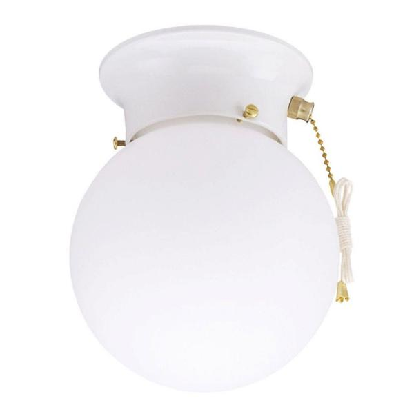 Westinghouse 1 Light Ceiling Fixture White Interior Flush Mount With Pull Chain With White Glass Globe 6668000 The Home Depot