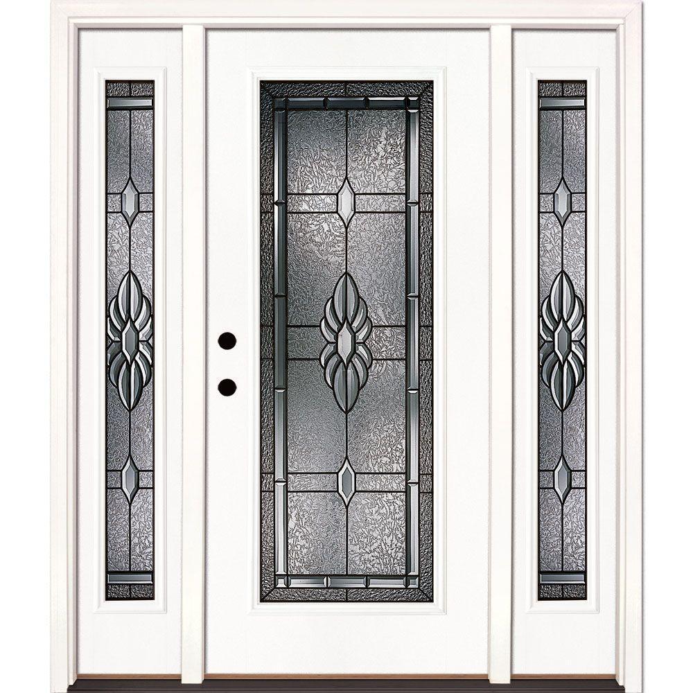 Right Hand Inswing Fiberglass Single Door With Sidelites Front Doors Exterior Doors The Home Depot