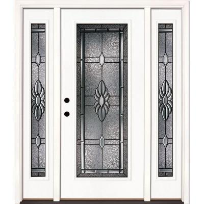 63.5 in. x 81.625 in. Sapphire Patina Full Lite Unfinished Smooth Right-Hand Fiberglass Prehung Front Door w/ Sidelites