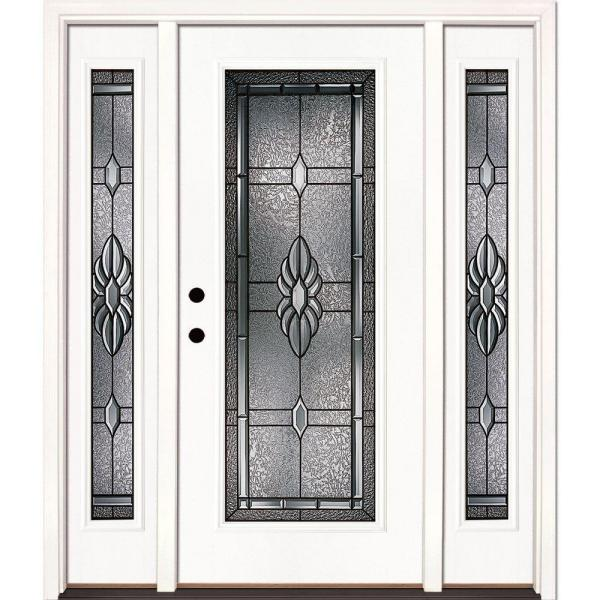 67.5 in. x 81.625 in. Sapphire Patina Full Lite Unfinished Smooth Right-Hand Fiberglass Prehung Front Door w/ Sidelites
