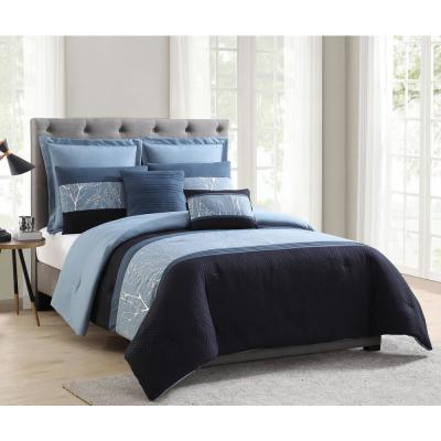 Madison Blue and Silver Foil Embellished King Comforter Set (7-Piece)
