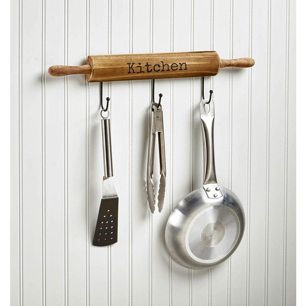 AdirHome 19 in. Wood Wall Mounted Kitchen Rack with 3-Hook