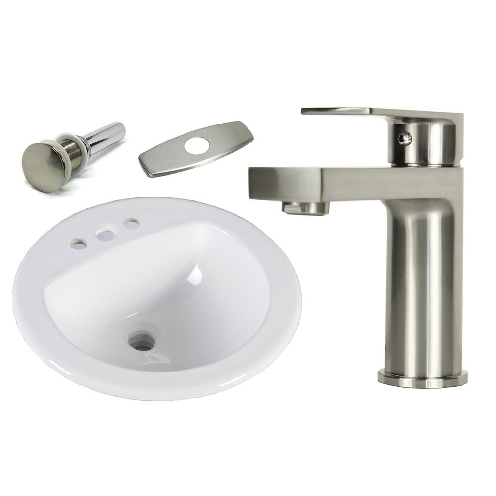 19 Round Bathroom Sink: Kingsman Hardware 19 In. Round Top Mount / Self Rimming