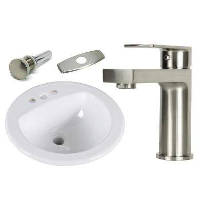 19 in. Round Top Mount / Self Rimming / Drop in Ceramic Sink with Brushed Nickel Bathroom Faucet /Pop-up Drain Combo