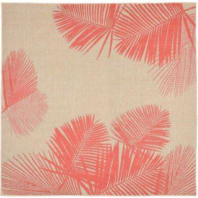baxter tropical leaf coral 7 ft 10 in x 7 ft 10 in area rug