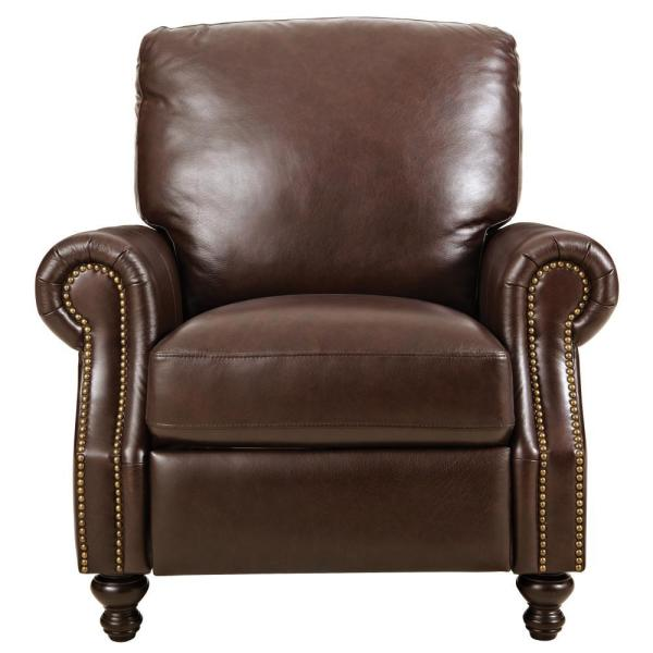 Home Decorators Collection Marco Chocolate Leather Recliner 9948500120 The Home Depot