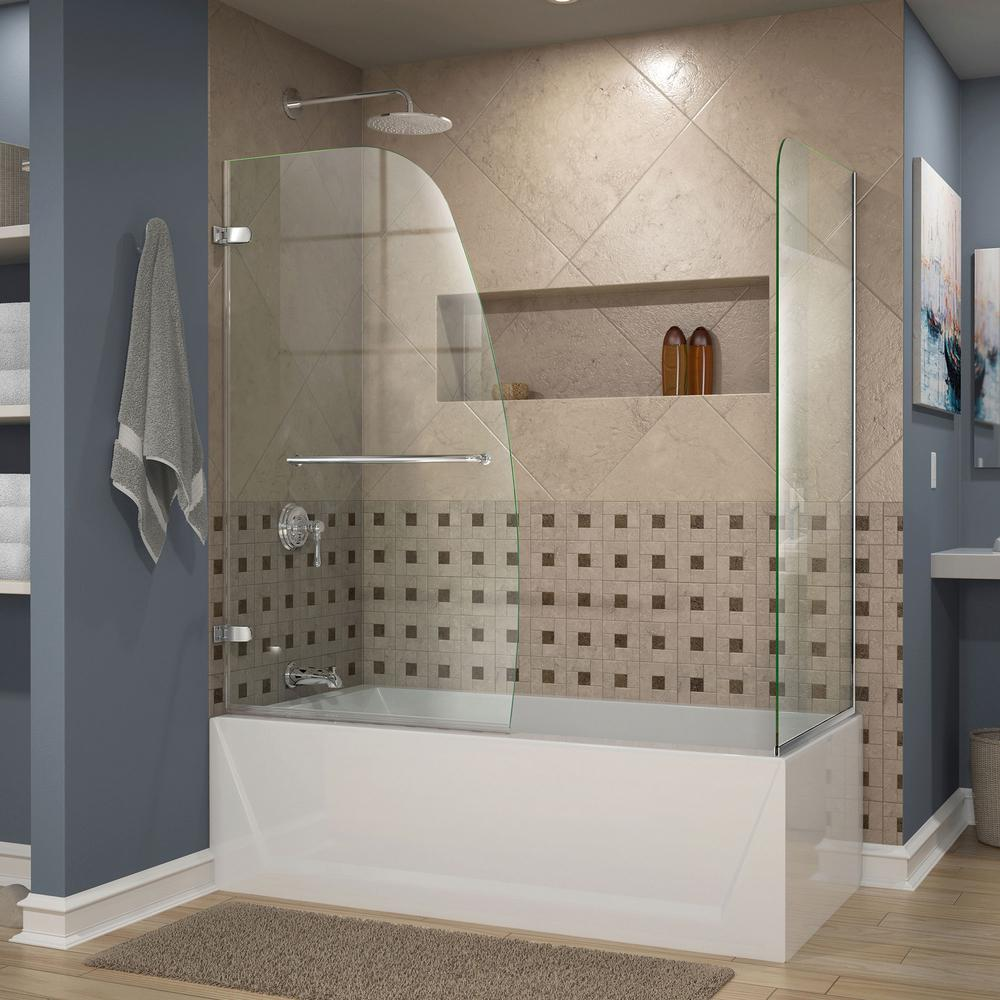 DreamLine Aqua 48 in. x 58 in. Semi-Framed Pivot Tub and Shower ...