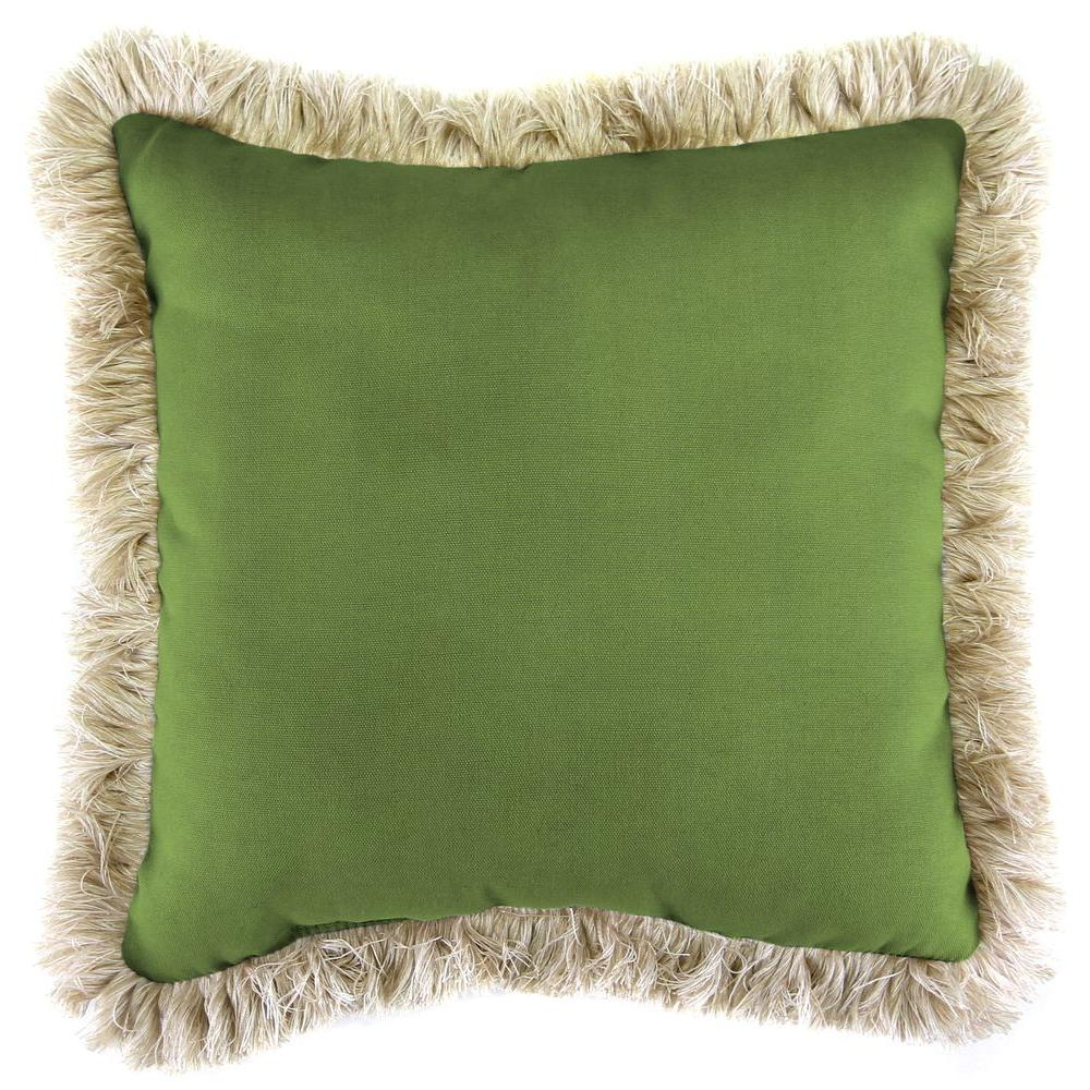 Sunbrella Canvas Gingko Square Outdoor Throw Pillow with Canvas Fringe