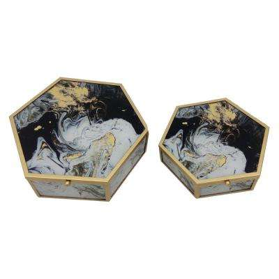 2.75 in. White Metal Framed Boxes (Set of 2)