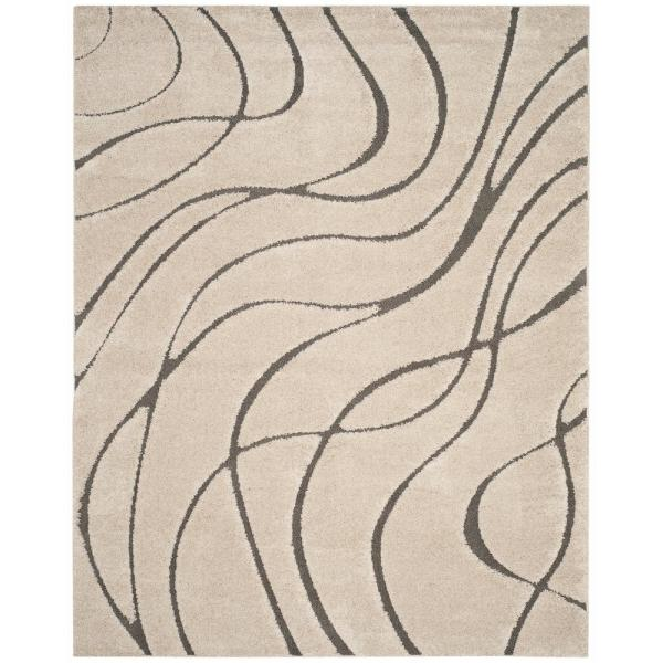 Florida Shag Cream/Gray 9 ft. x 12 ft. Area Rug