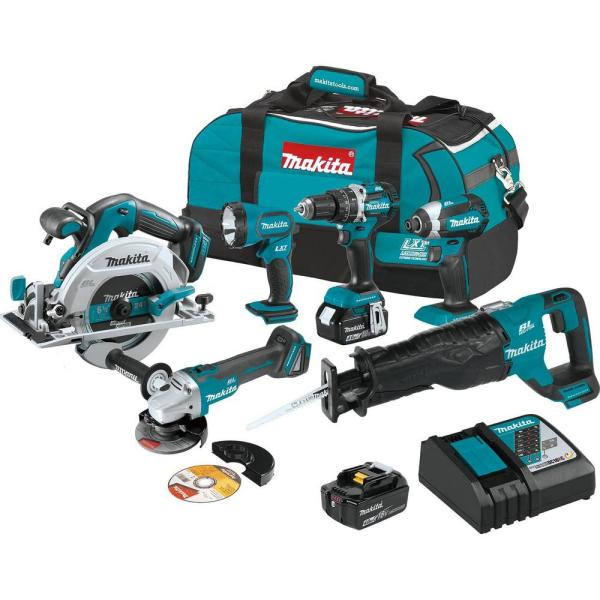 18-Volt LXT Brushless 6-Piece Kit (Hammer Driver-Drill, Impact Driver, Recipro Saw, Circular Saw, Grinder, Flashlight)