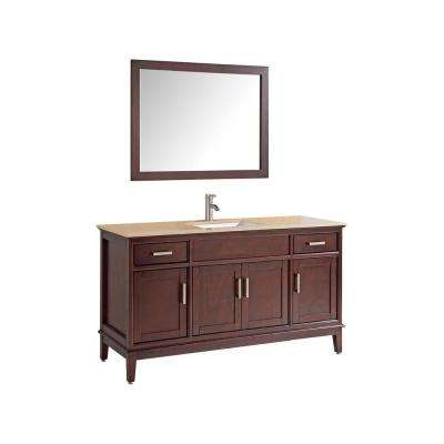 Sierra 60 in. W x 22 in. D x 36 in. H Vanity in Tobacco with Quartz Vanity Top in Tan Ivory with White Basin and Mirror