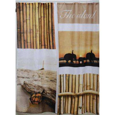 The Island 71 in. x 79 in. Multicolored Polyester Printed Fabric Shower Curtain
