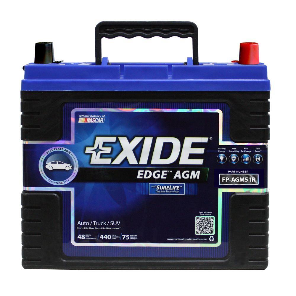 Exide Edge 12 volts Lead Acid 6-Cell 51R Group Size 440 Cold Cranking Amps (BCI) Auto AGM Battery
