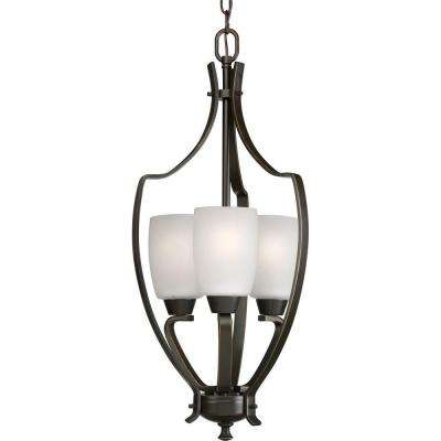Wisten 3-Light Antique Bronze Foyer Pendant with Etched Glass