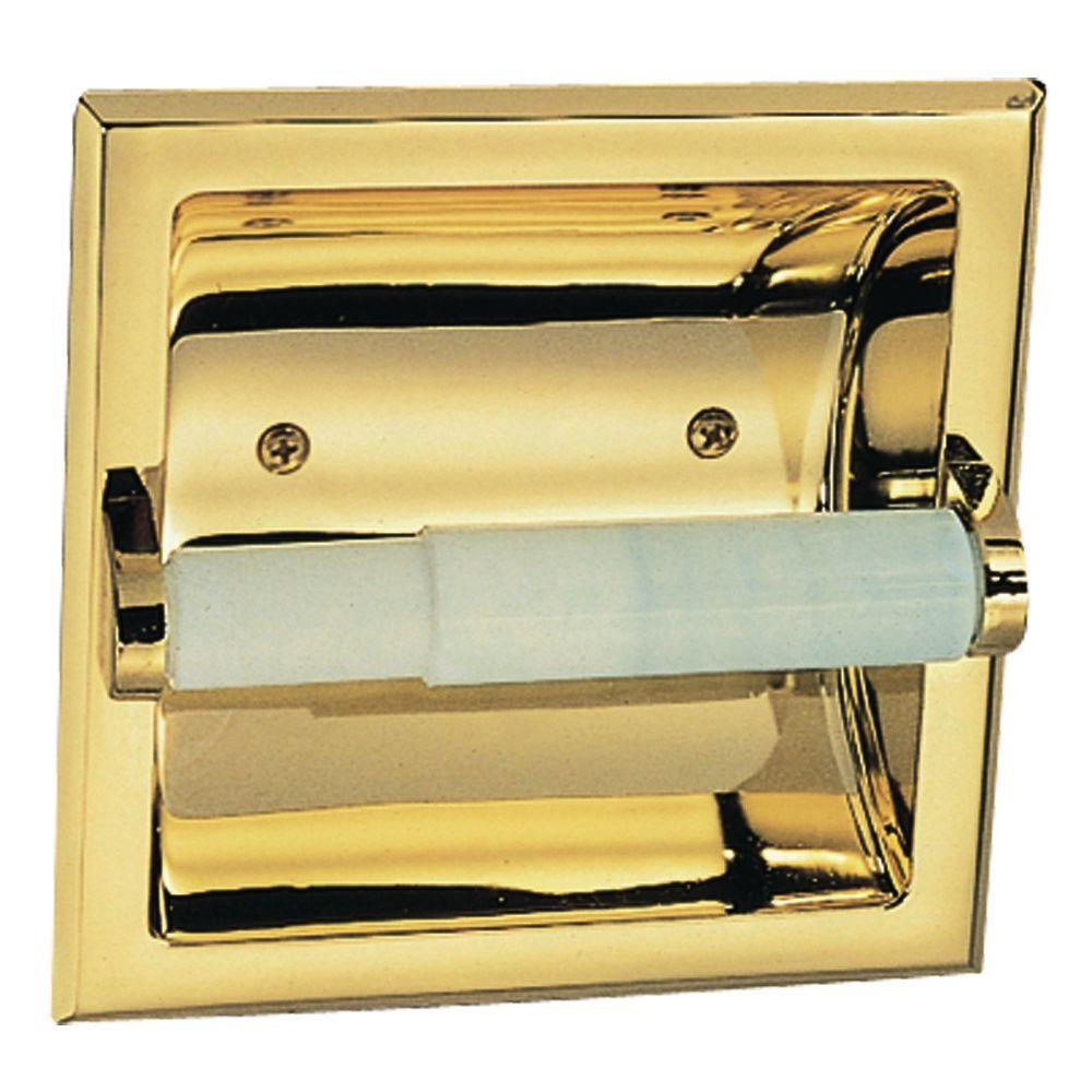 Millbridge Recessed Toilet Paper Holder in Polished Brass