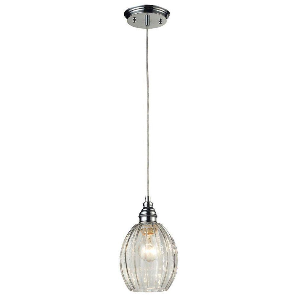 Titan Lighting Danica 1-Light Polished Chrome Ceiling Mount Pendant
