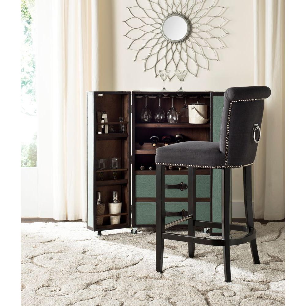 Safavieh Addo 29.7 in. Charcoal Cushioned Bar Stool HUD8242A