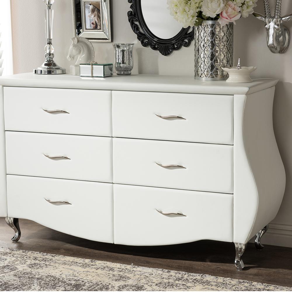 Erin 6-Drawer White Dresser