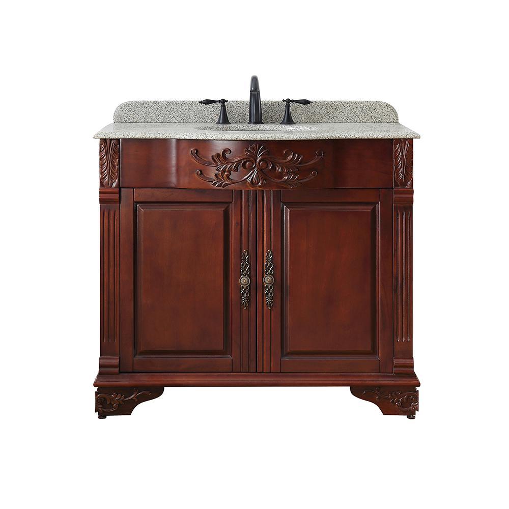 Home Decorators Collection Wildercliff 39 in. W x 23 in D Bath Vanity in Dark Cherry with Granite Vanity Top in Speckled Beige with White Basin