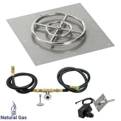 18 in. Square Stainless Steel Flat Pan with Spark Ignition Kit (12 in. Ring) - Natural Gas