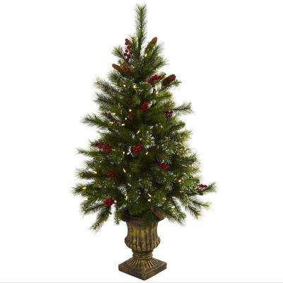 4 ft. Artificial Christmas Tree with Berries, Pine Cones, LED Lights and Decorative Urn