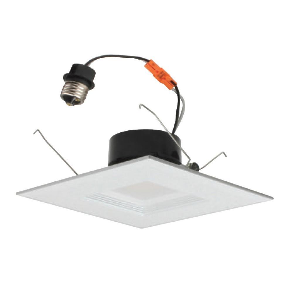 DLR Series 6 in. White (1280 Lumens) LED Square Recessed Retrofit Downlight Trim Kit, 4000K