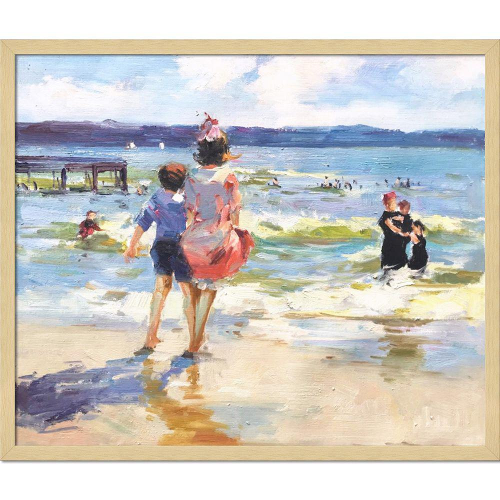 LA PASTICHE 21.5 in. x 25.5 in. At the Seashore with Studio Blonde Wood by Edward Henry Potthast Framed Wall Art, Multi-Colored was $1271.0 now $426.23 (66.0% off)