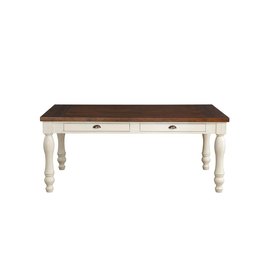 Acme Furniture Britta Walnut And White Washed Dining Table