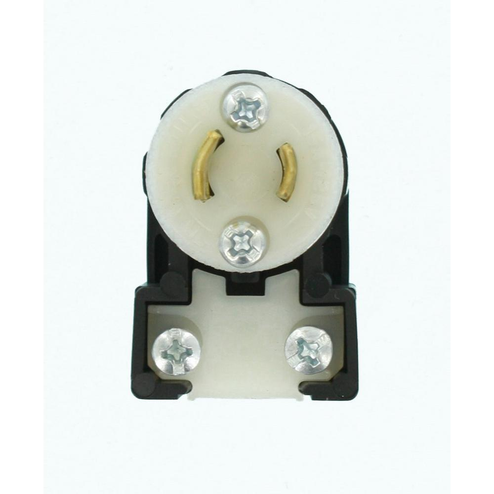 15 Amp 125-Volt Non-Grounding Locking Plug Industrial Grade MiniLock Angle,